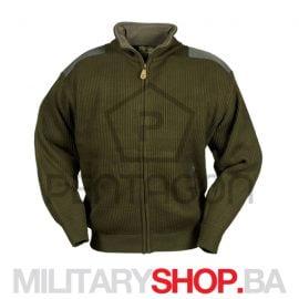 Pletena jakna sa postavom od fliša zelena K08007